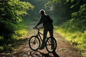 Cycling on a forest track